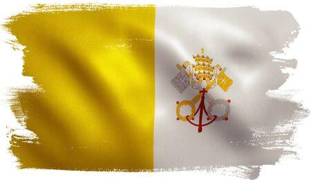 vatican city: Vatican City flag with fabric texture. 3D illustration.