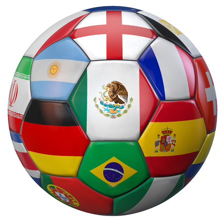 Mexico football with world national teams flags. Clipping path included for easy selection. 3D illustration.