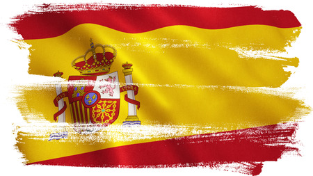 seville: Spain flag background with fabric texture. 3D illustration.