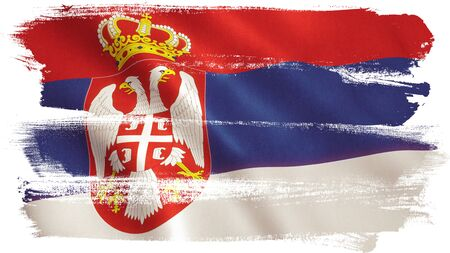 Serbia flag background with fabric texture.