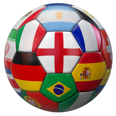 England football with world national teams flags. Clipping path included for easy selection. 3D illustration.