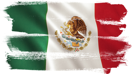 Mexico flag background with fabric texture. 3D illustration. Stok Fotoğraf