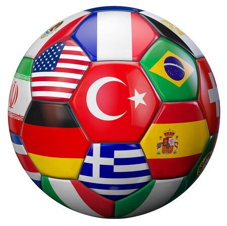 soccer goal: Turkey football with world national teams flags. Clipping path included for easy selection. 3D illustration. Stock Photo