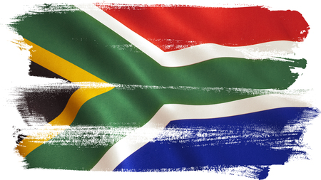 South Africa flag background with fabric texture.