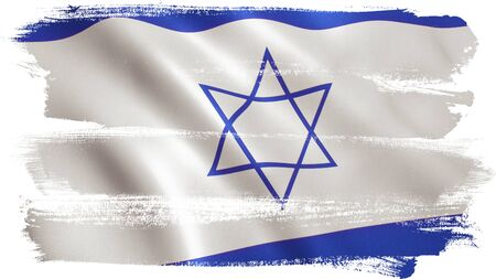Israel flag background with fabric texture. 3D illustration. Stock Photo