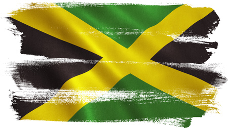 Jamaica flag background with fabric texture. 3D illustration. Stock Photo