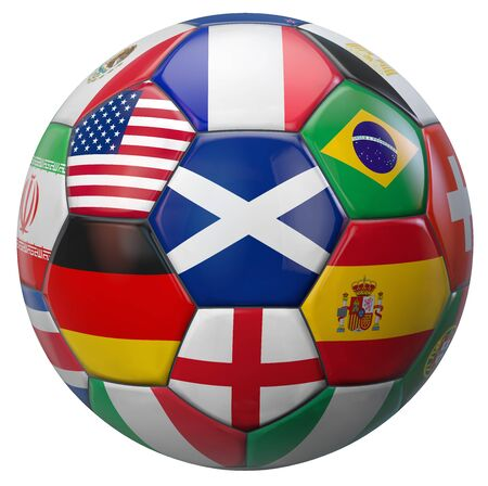 soccer goal: Scotland football with world national teams flags. Clipping path included for easy selection. 3D illustration.