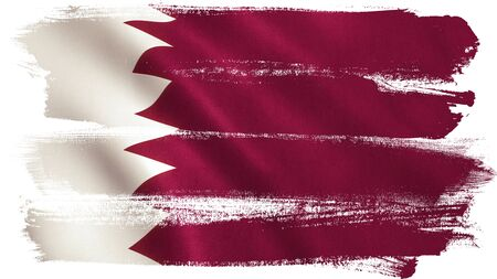 Qatar flag background with fabric texture. Stock Photo