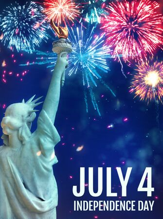July 4th Fireworks Poster Featuring the Statue of Liberty. Stock Photo