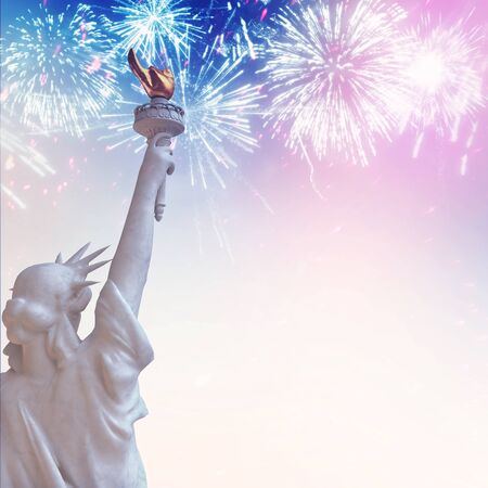 Statue of Liberty with July 4 Fireworks in Patriotic USA colors. Stock Photo