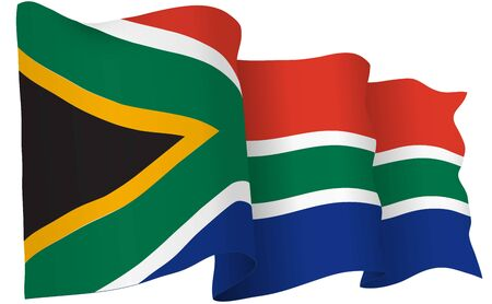 South Africa flag waving isolated on white in vector format. Illustration