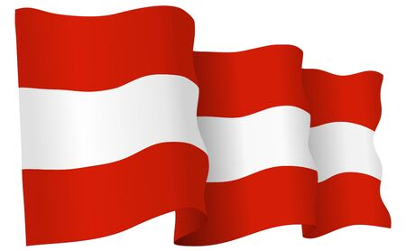 Austria flag waving isolated on white in vector format. Ilustração