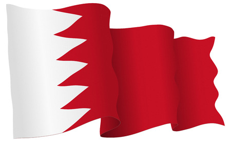 Bahrain flag waving isolated on white in vector format.
