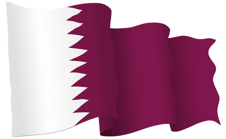 Qatar flag waving isolated on white in vector format.