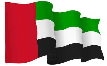 UAE flag waving isolated on white in vector format.