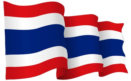 Thailand flag waving, isolated on white in vector format.