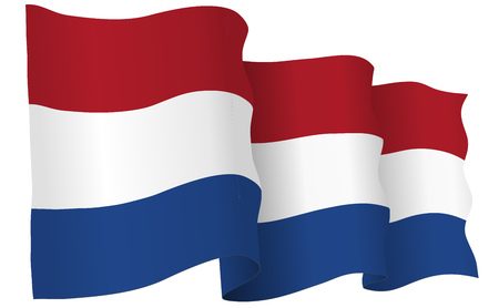 Holland flag waving isolated on white in vector format.