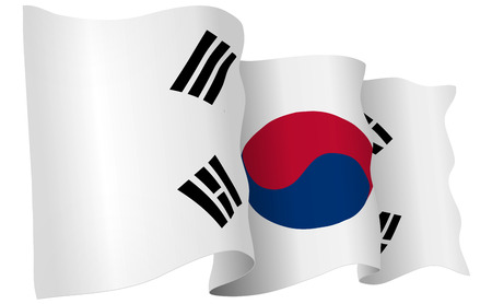 South Korea flag waving isolated on white in vector format. Illustration