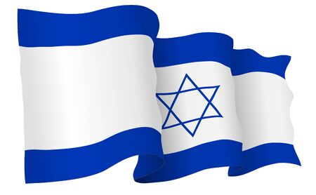 israel flag waving isolated on white in vector format. Stock Photo