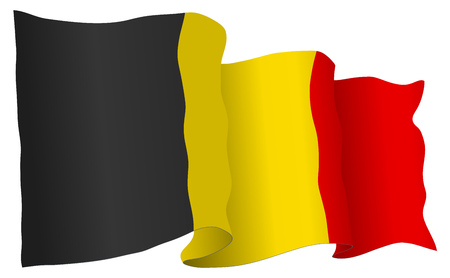 Belgium flag waving isolated on white in vector format.