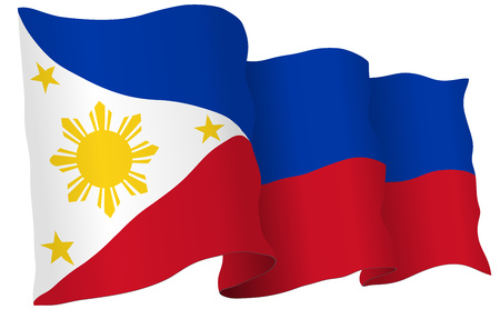 Philippines flag waving isolated on white in vector format.
