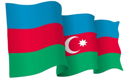 Azerbaijan flag waving isolated on white in vector format.