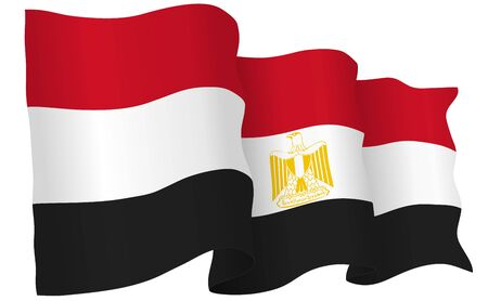 Egypt flag waving isolated on white in vector format. Illustration