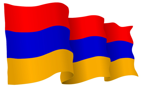 Armenia flag waving isolated on white in vector format.