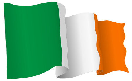 Ireland flag waving isolated on white in vector format.