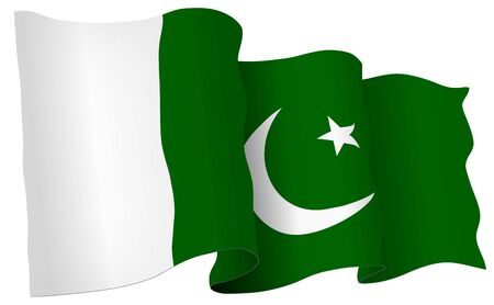Pakistan flag waving isolated on white in vector format. Illustration