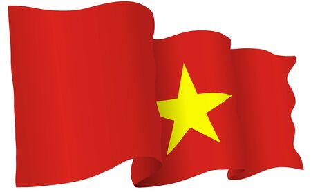 Vietnam flag waving isolated on white in vector format.