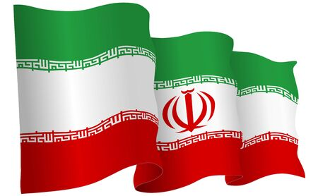 Iran flag waving isolated on white in vector format. Illustration