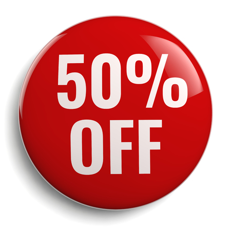 50% Off Discount Offer Round Sign Banco de Imagens - 100618499