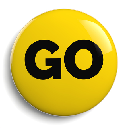 Go Yellow Round Sign Isolated on White Stock Photo