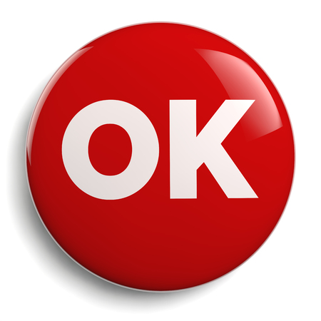 OK Sign Text on Red Button Isolated on White.