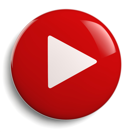 Play Button. Round Red 3D Icon Symbol.