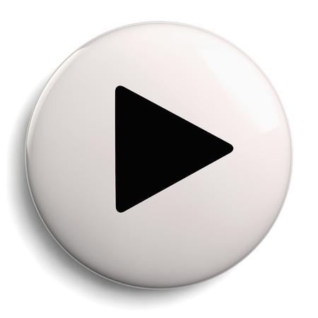 Play Button. Round 3D Black and White Icon Symbol. Stock Photo