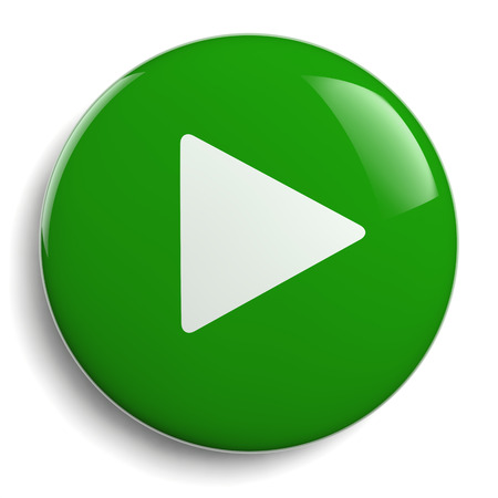 Play Button. Round Green 3D Icon Symbol.