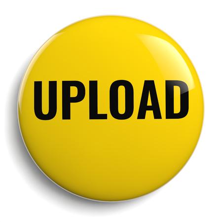 Upload Text on a Yellow Round Button Icon 版權商用圖片