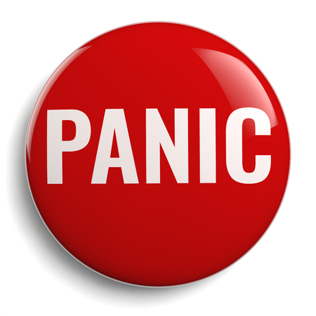 Panic Button Red Round Icon on White