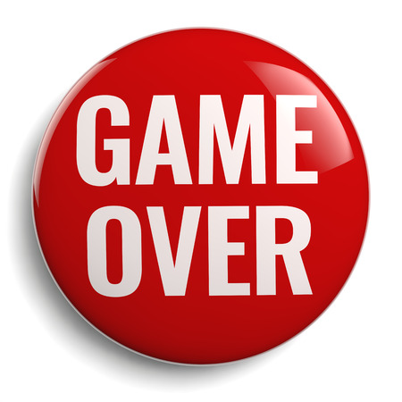 Game Over Red Round 3D Icon on White