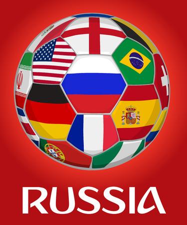 Illustration vectorielle de Russie football. Drapeau russe entouré de drapeaux d'autres équipes nationales du monde entier. Illustration 3D.