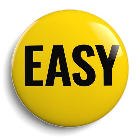 Icône 3D de signe de bouton jaune facile isolé sur blanc
