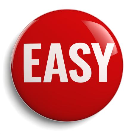 Icona 3D del segno del bottone rosso facile isolata su bianco Archivio Fotografico