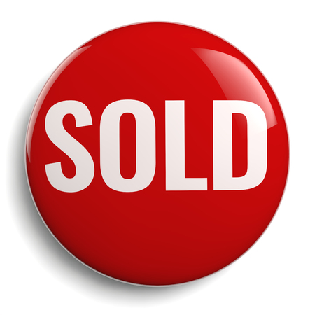 Sold Sign Red Round Marketing Symbol Isolated.