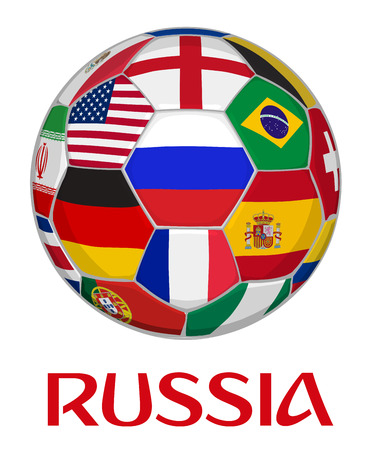 Russia Football Championship Vector Graphic. Ball with Russian Flag Surrounded by Other National Teams Flags from Around the World. 3D Illustration.