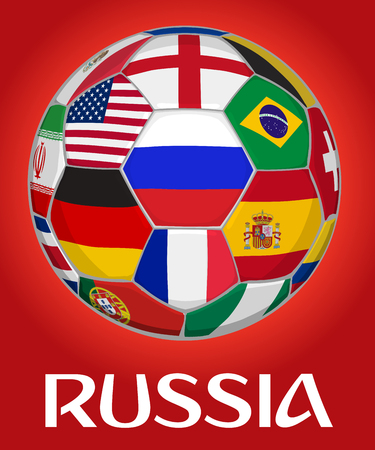 Russia football vector illustration. Russian flag surrounded by other national teams flags from around the world. 3D illustration.