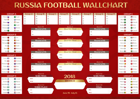 Russia Football Championship Wallchart Poster. Vector Illustration with National Teams Flags and Russian Soccer Graphic Theme.