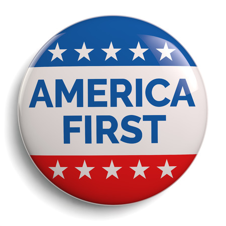 America First USA Campaign Flag Badge Isolated