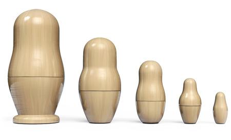 Matryoshka Set of Five Wooden Nesting Dolls. Russian Traditional Toys. 3D Illustration. Stock Photo